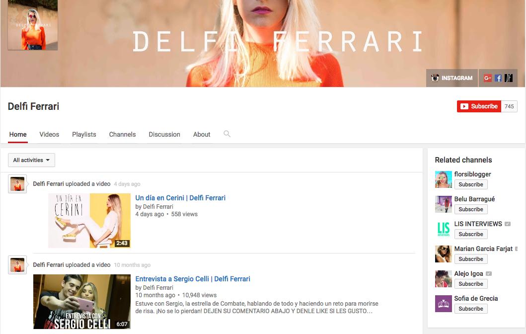 Delfi Ferrari YouTube